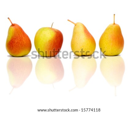 3 red pears in a line and one red apple - stock photo