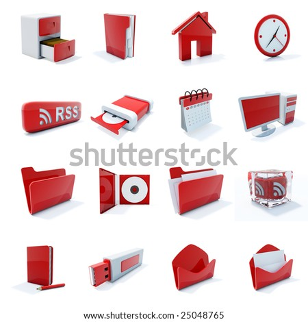 16 red plastic 3d icons isolated on white - stock photo