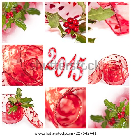 2015 red ribbon and holly square collage - stock photo