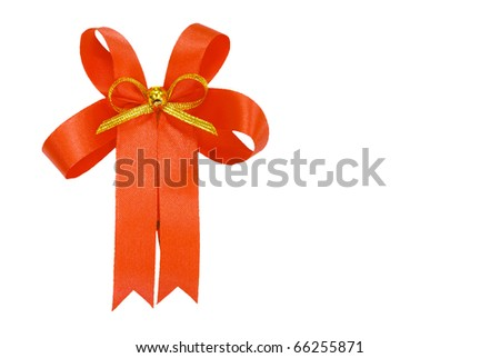 red ribbon bow isolated - stock photo