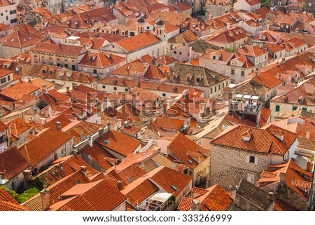Red Roofs Of Houses In Old Town Dubrovnik, Croatia, UNESCO Site, Panoramic  View