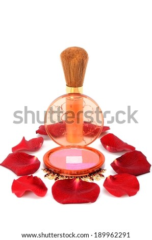 Red rose petals, items for women's makeup blush brush and a still life in a symmetrical - stock photo