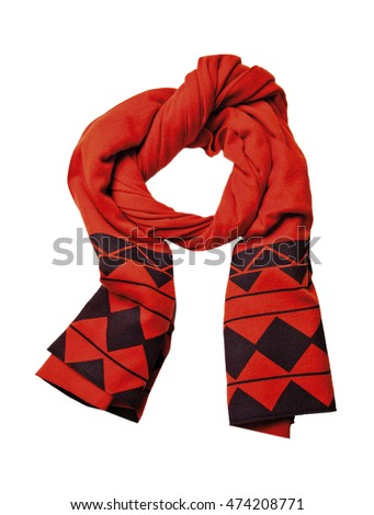 red scarf isolated on white background. Female accessory.