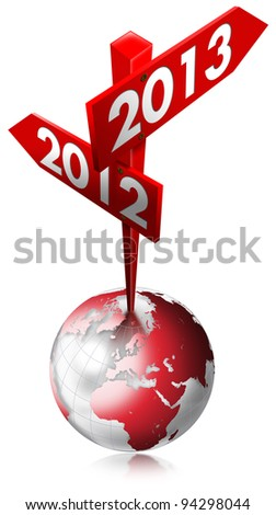 2012-2013 Red Sign / Red Sign with two arrows and written 2012-2013 over the globe - stock photo