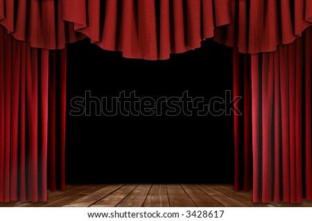 Red Stage Theater Drapes With Wood Floor - stock photo