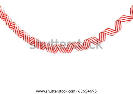 red streamers isolated on white background - stock photo