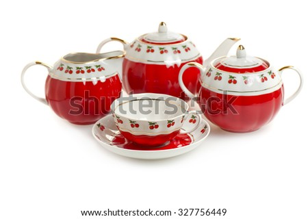 red tea set isolated on white background - stock photo