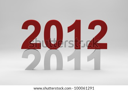 2012 red text on top of 2011 - stock photo