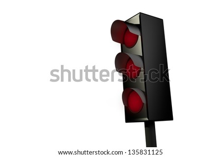 Red traffic light isolated on white