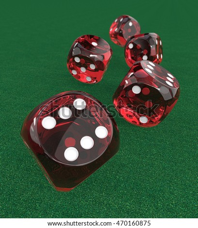 5 Red transparent Dices. 3D Render of 5 classic Red dices rolling forward on Green Casino Felt. Medium DOF.