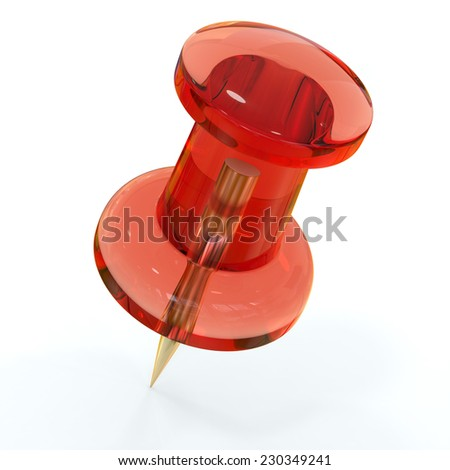 Red transparent push pin