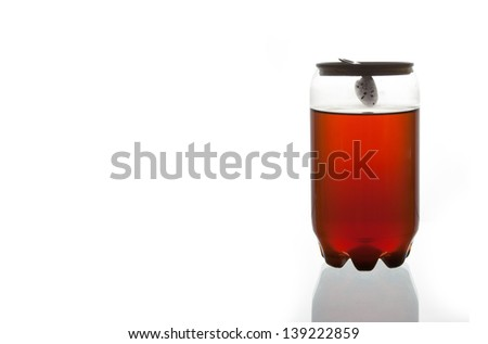 Red water in Plastic Can - stock photo