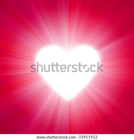 red  with a glow of white light heart shape - stock photo