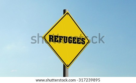 Refugees  Road sign on the sky background