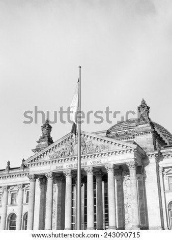 Reichstag German houses of parliament in Berlin Germany in black and white