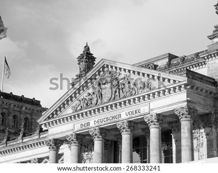 Reichstag German houses of parliament in Berlin Germany in black and white - stock photo