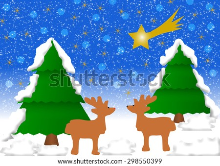 2 Reindeer in a winter landscape with 2 fir-trees covered with snow and a comet - stock photo
