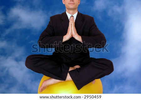 Relaxing.  Business meditation .Sky background. - stock photo