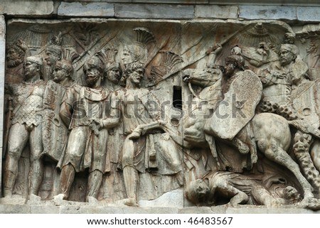 Relief on the Arch of Constrantine, Rome - stock photo