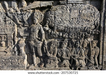 relief panels in Borobudur Temple, Indonesia