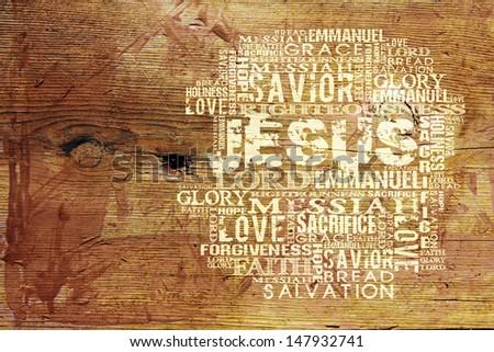 Religious Words on wood - stock photo