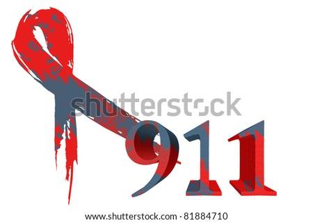 911 remembrance ribbon - stock photo