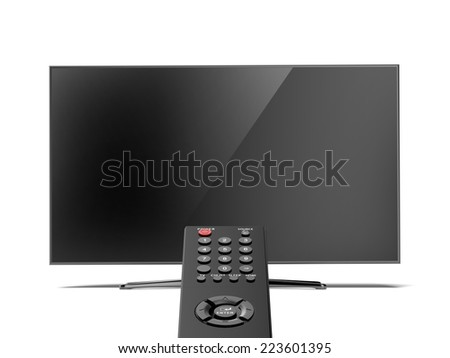 remote control and the TV screen - stock photo