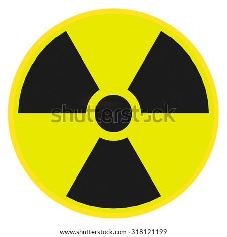 Render illustration of radioactive warning sign - stock photo