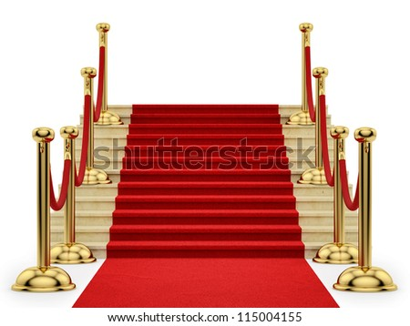 render of gold stanchions and a red carpet - stock photo