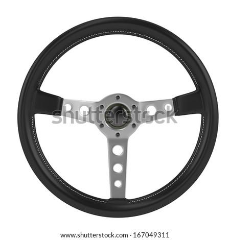 render of steering wheel isolated - stock photo