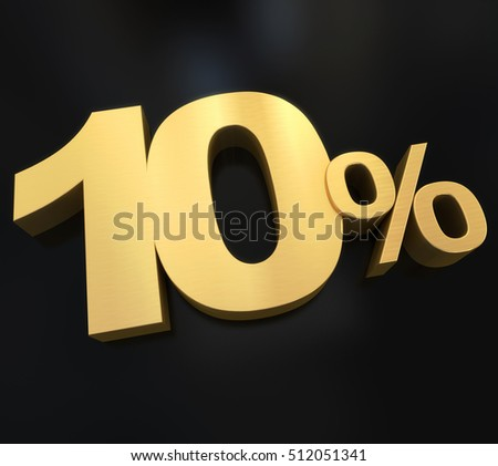 10% rendered with a gold texture against a black background 3D rendering
