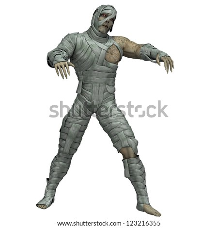 rendering a shaking mummy as Illustration - stock photo