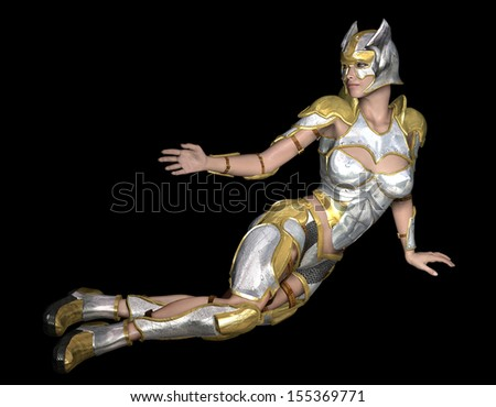rendering of a female warrior in armor as Illustration - stock photo