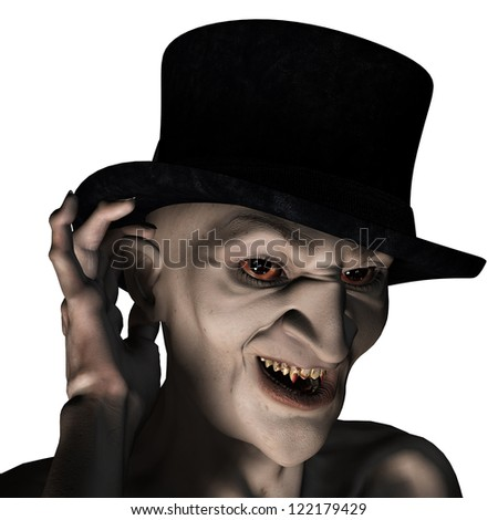 rendering of an old vampire as an illustration - stock photo