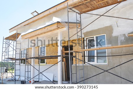 Renovation of the Rural House with Plastering and Painting in White Color Exterior House Wall.