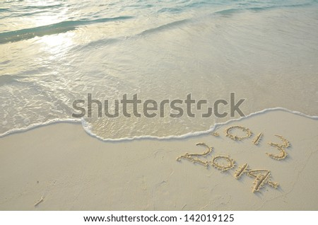 2014 replace 2013 - stock photo