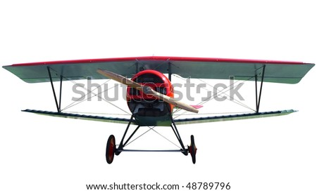 7/8 Replica of a 1916 French Biplane isolated with clipping path - stock photo