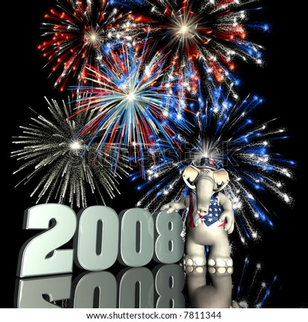 2008 Represented by a Republican Political Elephant with red, white and blue fireworks. - stock photo