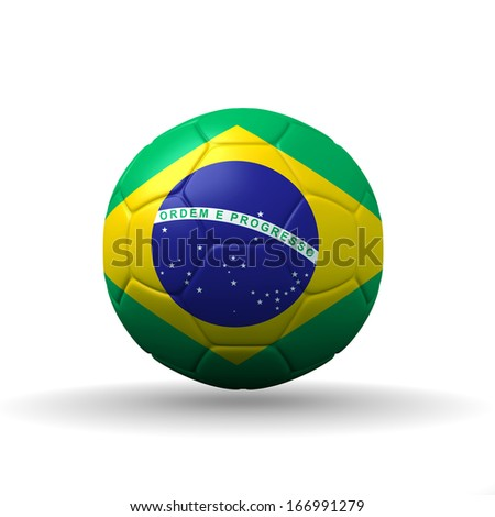 Republic of Brazil  flag textured on soccer ball , clipping path included