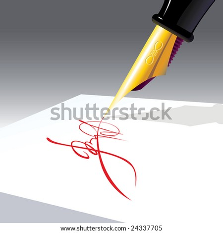 resolution, business signature of approval, color ink on white paper, vector, illustration - stock photo