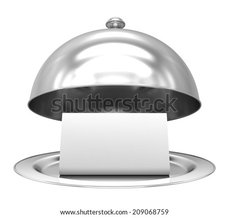 Restaurant cloche with paper template on white background - stock photo