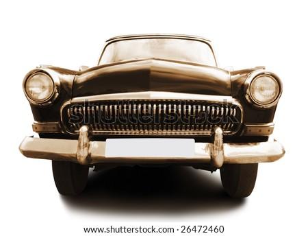 retro car isolated on white background - stock photo