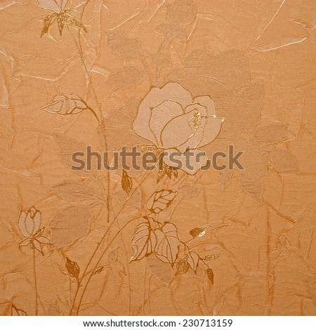 retro crumpled floral wallpaper in golden design, square image - stock photo