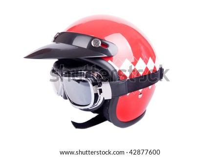 Retro helmet and goggles motorcyclist's - stock photo