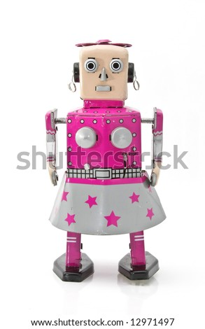 retro robot girl robot - stock photo