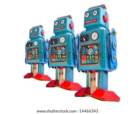 retro robot toys  team - stock photo