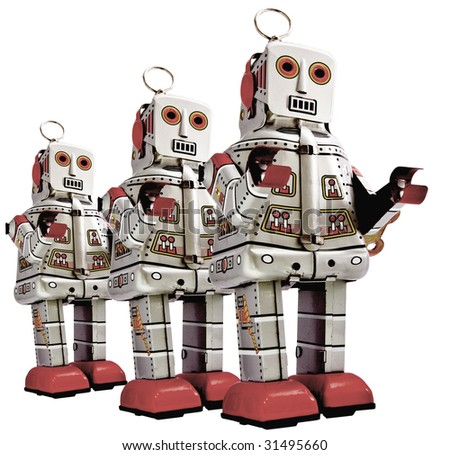 retro  robots in a line - stock photo