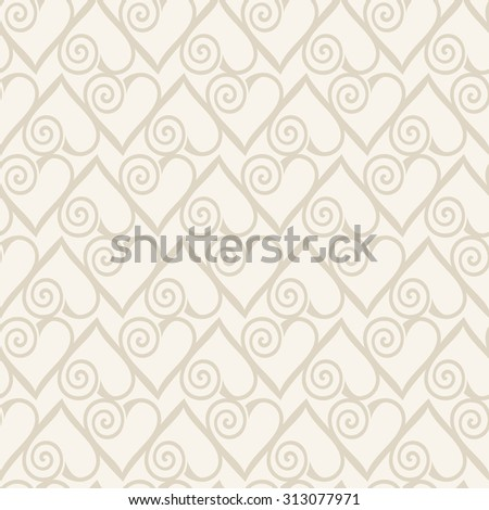 Retro seamless pattern. Abstract hearts on beige background. raster version - stock photo