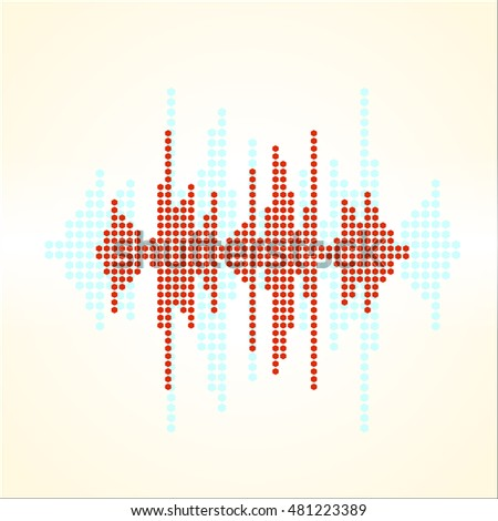 retro sound wave. Halftone square elements. Music polygons waveform background.