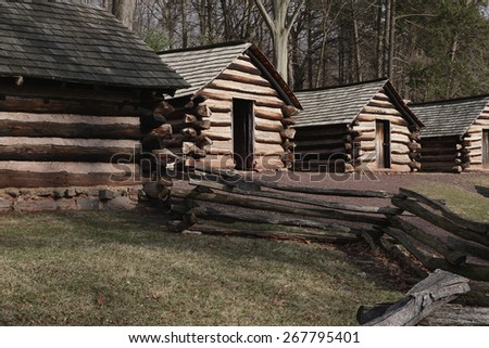 Revolutionary War Army Huts in Valley Forge, Pennsylvania                              - stock photo